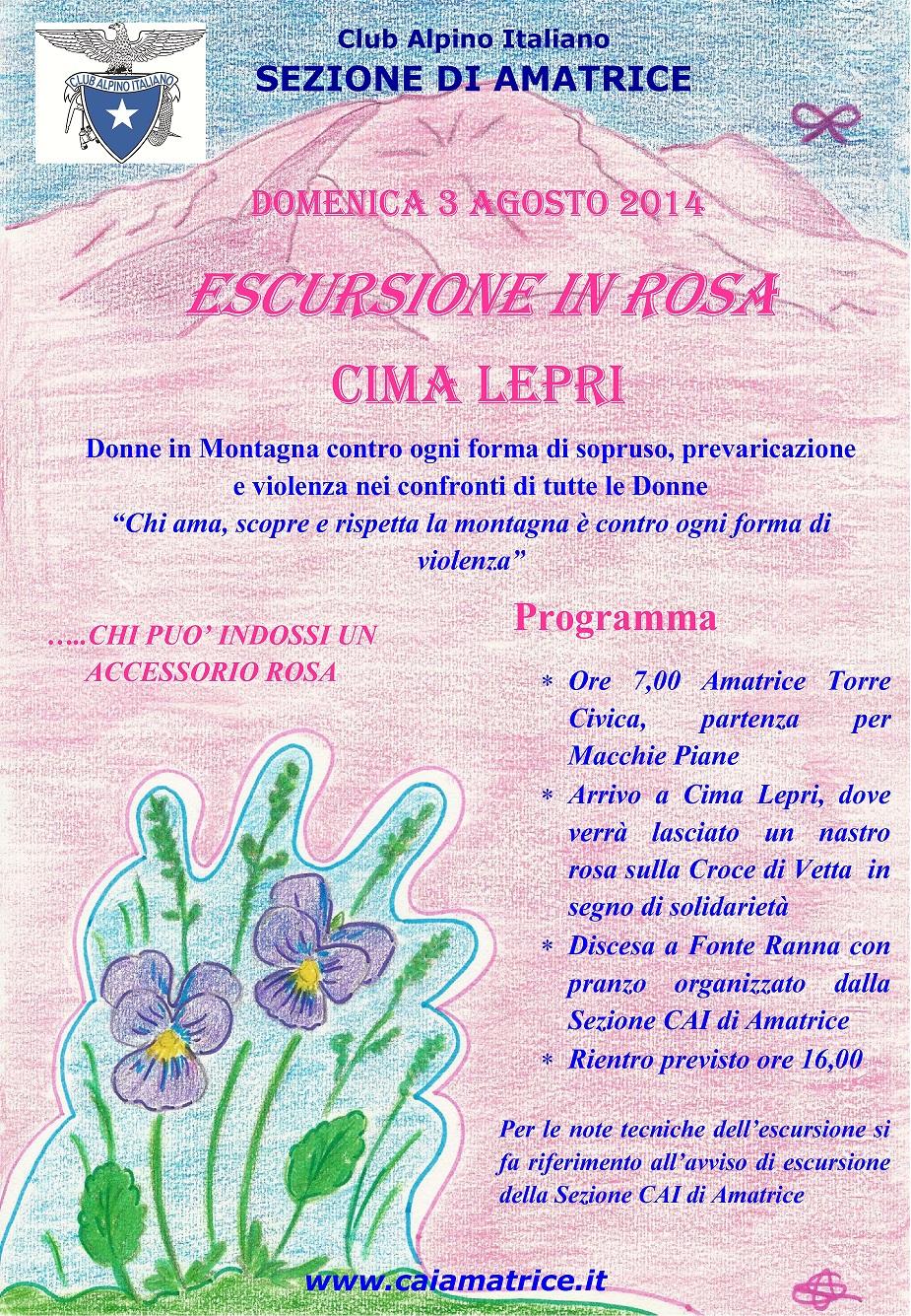 MANIFESTO ESCURSIONE IN ROSA 3-8-2014