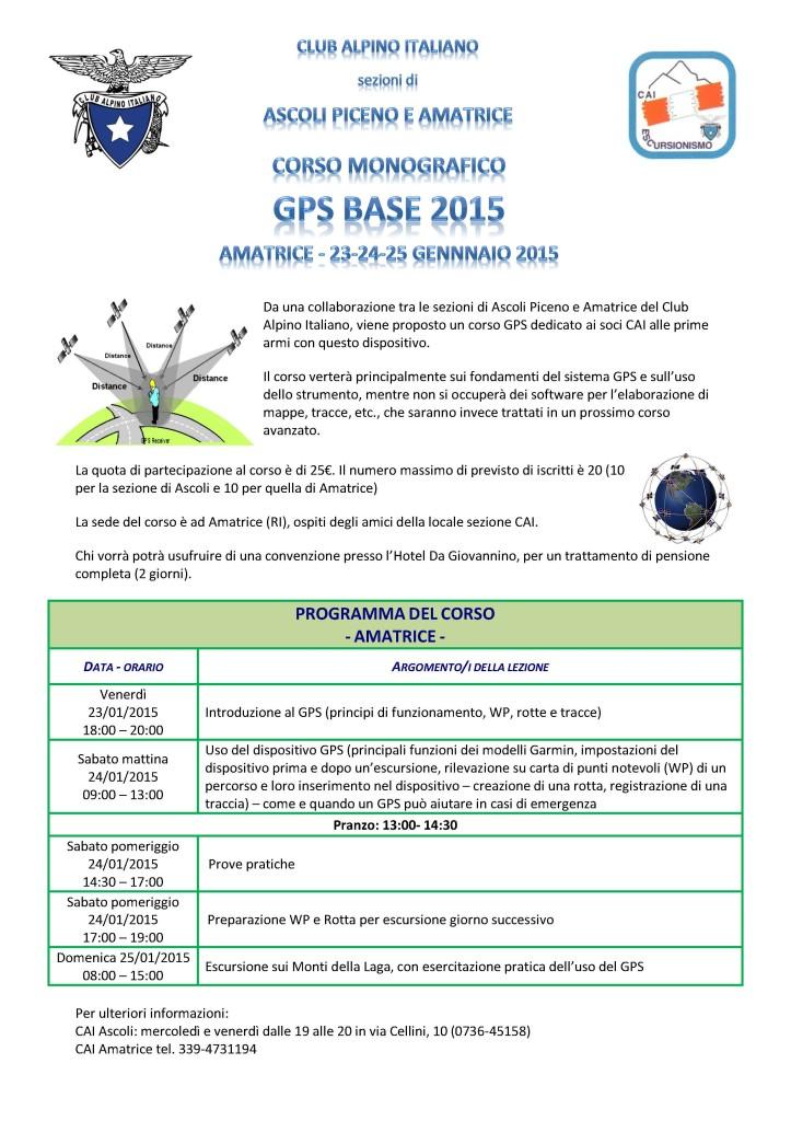 Locandina corso GPS Base 2015