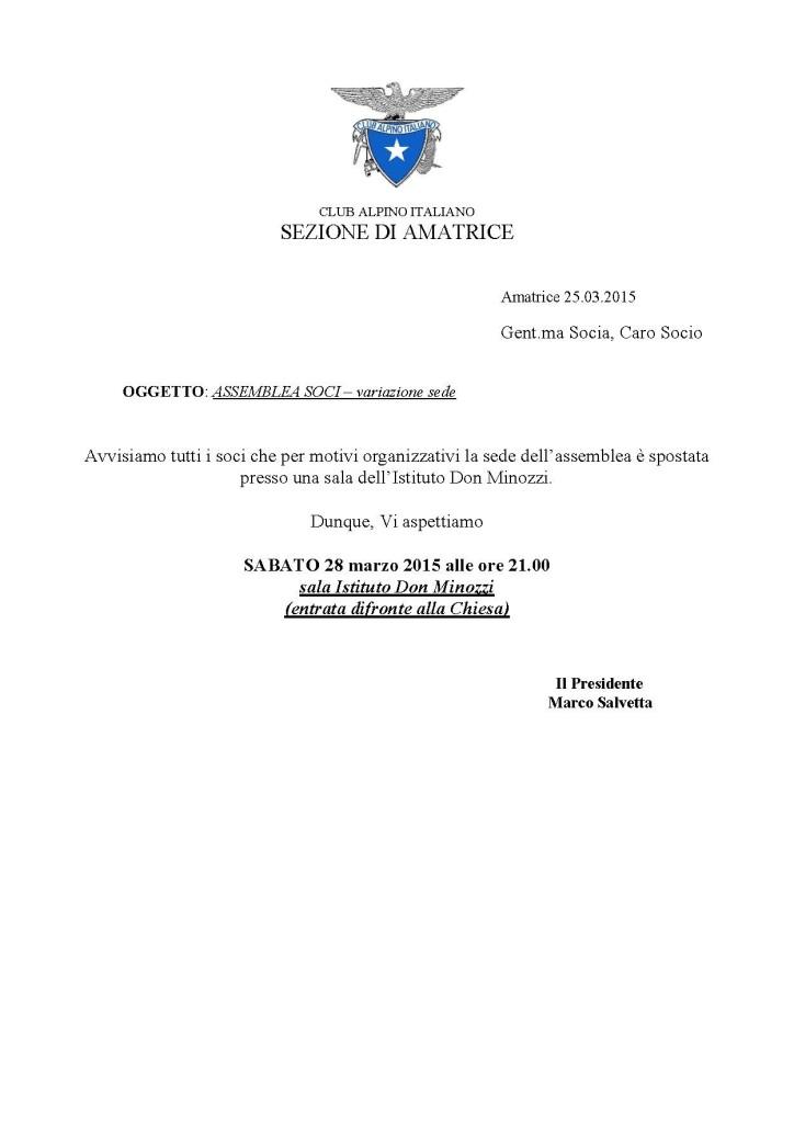 convocazione assemblea soci 28-3-2015