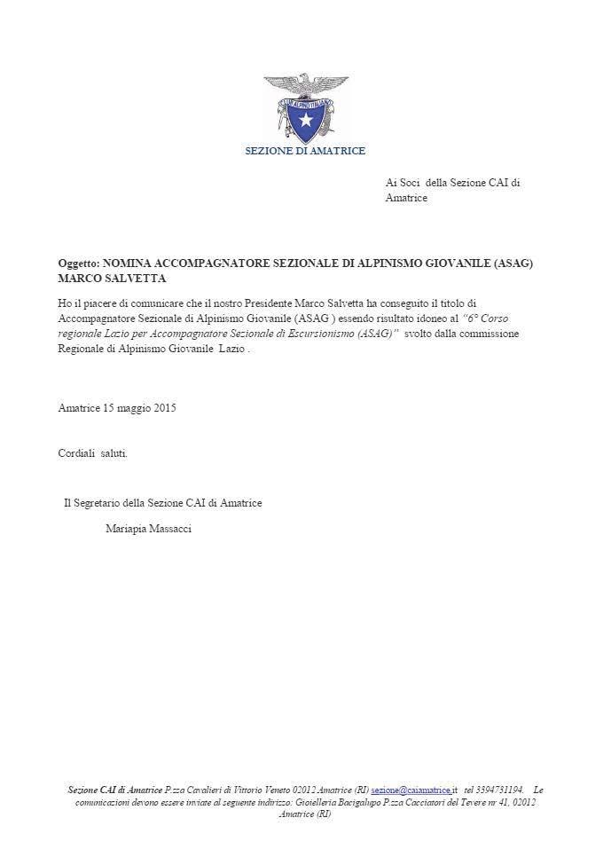 nomina ASAG Salvetta