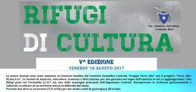 Il 18 agosto V edizione di Rifugi di Cultura al Terminillo. La nostra sezione tra gli organizzatori