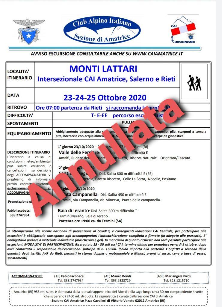 Monti Lattari – Intersezionale CAI Amatrice, Salerno e Rieti [ 23-24-25 Ottobre 2020]